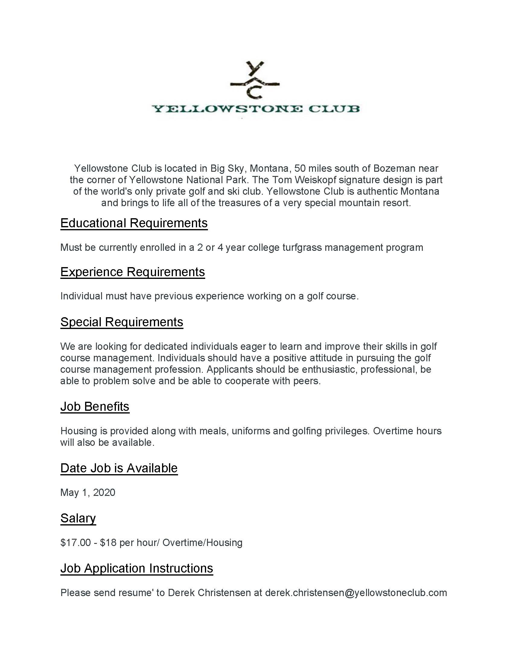 Yellowstone Club flyer